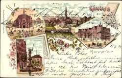 Litho Hannover Linden in Niedersachsen, Neuer Markt, Rathaus, Brunnen