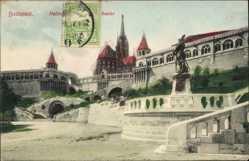 Postcard Budapest Ungarn, Ansicht der Fischerbastei, Statue