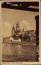 Postcard Kraków Krakau Polen, Burg von der Weichselseite, Wisla, Wawel