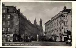 Foto Ak Legnica Liegnitz Schlesien, Breslauer Platz, Blick nach der Frauenkirche