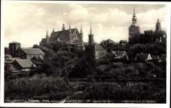 Ak Frombork Frauenburg Ostpreußen, Dom, Glockenturm, Kopernikus Denkmal