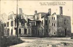 Ak Orzysz Arys Ostpreußen, Zerstörtes Sanderlingsches Wohnhaus