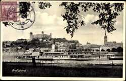 Postcard Poszony Pressburg Bratislava Slowakei, Flussdampfer, Burg