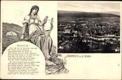 Postcard Hameln in Niedersachsen, Weserlied mit Panoramablick