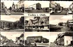 Postcard Vechta in Oldenburg, Marienapotheke, Häuser, Autos