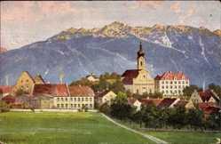 Künstler Ak Bernhard, Murnau am Staffelsee in Oberbayern, Ortschaft, Kirche