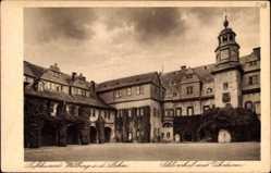 Postcard Weilburg im Lahntal, Blick in den Schlosshof mit Uhrturm