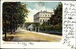 Postcard Detmold, Blick auf das Palais, Blick in eine Straße
