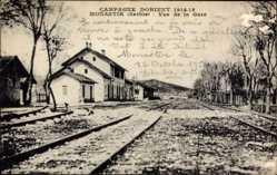 Postcard Monastir Bitola Mazedonien, Vue de la Gare, Bahnhof im Kriegsgebiet
