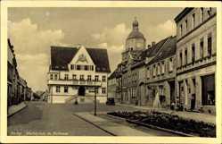 Postcard Barby an der Elbe, Blick auf den Marktplatz mit Rathaus