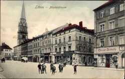 Postcard Löbau in Sachsen, Blick in die Nicolaistraße mit Kirchturm, Oscar Schulz