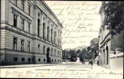 Postcard Dortmund im Ruhrgebiet, Gymnasium und Bismarck Denkmal
