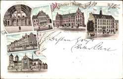 Litho Münster in Westfalen, Rathaus Saal, königliche Akademie, Dom. Regierung