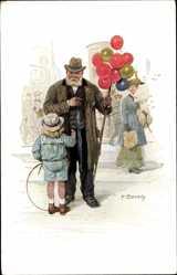 Künstler Ak Bersch, F., Berliner Typen, Ballonhändler, Kind mit Spielreifen