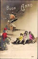 Postcard Glückwunsch Neujahr, Kinder fahren Schlitten, Glocke