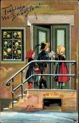 Postcard Frohe Weihnachten, Sternensänger an der Tür, Tannenbaum