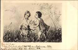 Künstler Ak Liebespaar auf einer Blumenwiese, Blumenstrauß, Theo Stroefer 5634