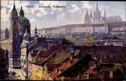 Künstler Ak Skruzny, J., Praha Prag, Kleinseite, Hradschin, Häuser, Kirche