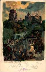 Litho Heidelberg am Neckar, Straßenpartie mit Blick zum Berg