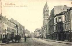 Postcard Deutz Köln am Rhein, Freiheitsstraße mit der neuen katholischen Kirche