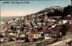 Postcard Smyrna Izmir Türkei, Monz Pagus et la Ville, Blick auf den Ort, Berg