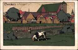 Steindruck Ak Verden an der Aller, Stadtansicht, Weide, Kuh, Gebäude