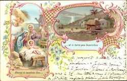 Litho Gloria in escelsis Deo et in terra pax hominibus, Heilige Familie, Jesus