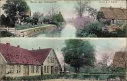 Postcard Ihlienworth im Kreis Cuxhaven, Flusspartie, Kirche, Gebäude
