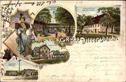 Litho Dittersbach Frankenberg, Gasthaus Drei Rosen, Inh. E. Nebe, Haltestelle