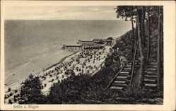 Postcard Ostseebad Sellin auf Rügen, Blick auf den Strand, Stege, Tische