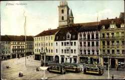 Leporello Ak Zittau, Blick auf den Marktplatz, Straßenbahn, Gleise, Stadtansicht