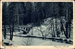 Ak Krasnolessje Rominten Ostpreußen, Heyden Brücke, Winter