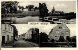 Postcard Barßel in Niedersachsen, Partie am Tief, Lange Straße, St. Elisabeth Stift