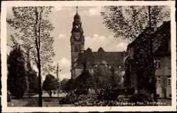 Postcard Wittenberge in der Prignitz, Partie am Rathaus, Uhrturm, Häuser
