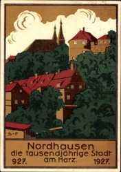 Steindruck Ak Nordhausen an der Zorge Thüringen, 927 bis 1927, 1000 Jahre