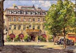 Künstler Ak Merth, Saalfeld an der Saale Thüringen, Mauxion Hotel Roter Hirsch