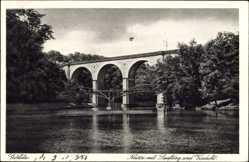 Postcard Görlitz in der Lausitz, Partie an der Neisse mit Laufsteg und Viadukt