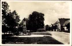 Postcard Daubitz Rietschen Oberlausitz, Blick auf den Marktplatz, Denkmal, Büste