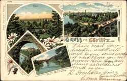 Litho Görlitz in der Lausitz, Viadukt, Neisse, Ansicht mit Laufsteg