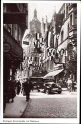 Postcard Stuttgart in Baden Württemberg, Kirchstraße mit Blick auf Rathaus, Fahnen