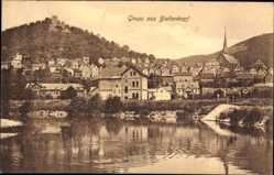 Postcard Biedenkopf an der Lahn, Totalansicht der Ortschaft, Kirchturm, Ruine