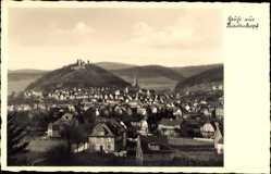Postcard Biedenkopf an der Lahn, Totalansicht der Ortschaft, Schloss, Berge