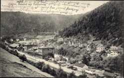 Postcard Calw Nordschwarzwald, Ortschaft mit Bahnhof und Teichelweg, Gleisseite