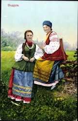 Ak Widoki i typy Ukrainy, Ukrainische Trachten, Zwei Frauen