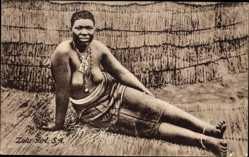 Ansichtskarte / Postkarte Südafrika, Zulu Girl, Afrikanerin, Barbusig, South Africa