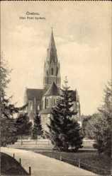 Postcard Örebro Schweden, Olai Petri kyrkan, Blick zur Kirche
