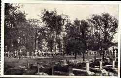 Postcard Brest Litowsk Weißrussland, Freund und Feind friedlich vereint, Friedhof