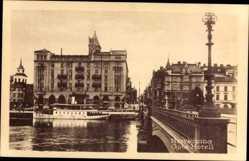 Postcard Norrköping Schweden, Göta Hotell, Brücke, Flussdampfer