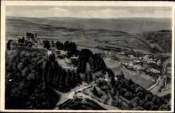 Postcard Bourscheid Luxemburg, Fliegeraufnahme, Vue sur Michelau