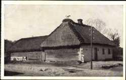 Postcard Brest Litowsk Weißrussland, Storchidyll, Russisches Wohnhaus